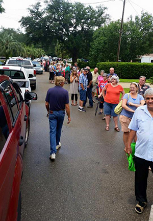 a line forms at the beginning of an estate sale